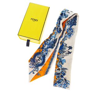 フェンディ(Fendi) ツイリー シルク スカーフ オレンジ