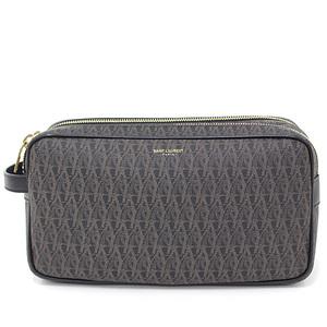 Saint Laurent monogram second bag brown black PVC leather clutch handbag