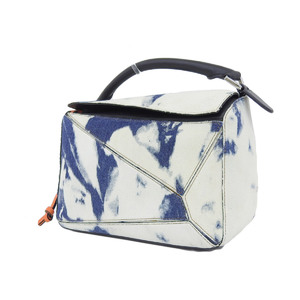 LOEWE Loewe Puzzle Bag Handbag Anagram Bleach Denim Leather White Blue Black 20181220