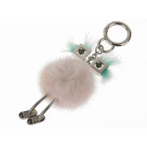 FENDI Fendic Chick Bag Bugs Monster Charm Mink Fur Light Blue Pink 7AR559 20190207