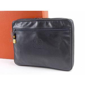 LOEWE LOEWE anagram vintage clutch bag leather black 20190510