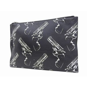 SAINT LAURENT Saint Laurent Pistol Total Pattern Gun Second Bag Leather Black Clutch YSL 20190313