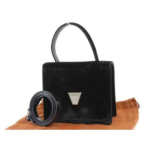 LOEWE LOEWE Logo Hardware 2Way Handbag Vintage Velor Black 20190531