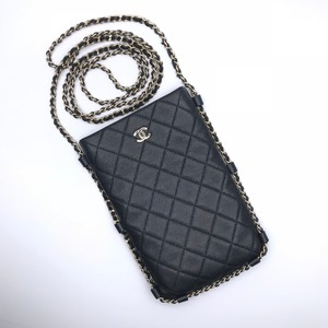 Chanel Matrasse Chain Pochette Ladies Shoulder Bag Lambskin Black DH56025