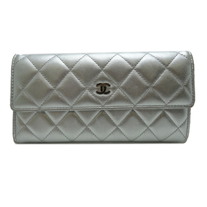 Chanel Matelasse Long Wallet Ladies Bi-fold A50096 Lambskin Silver
