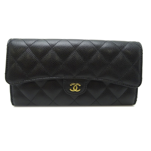 Chanel Lambskin Matelasse Bi-fold Wallet Ladies Long A80758 Black