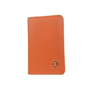 CHANEL Coco Mark Card Case Business Holder Leather Orange 9th 20190628