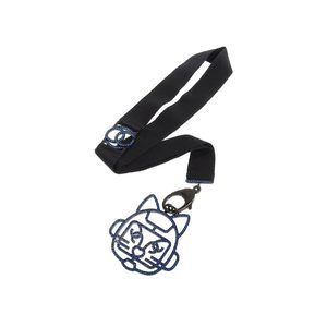CHANEL Cat Robot Rhinestone Coco Mark Necklace Blue Black Neck Strap 68cm 20190705