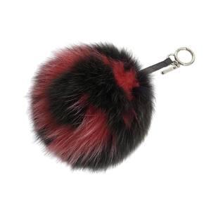 FENDI Fendi Initial G Bag Charm Fur Black Red Strap Pom 20190705
