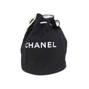 CHANEL Chanel drawstring logo bicolor rucksack canvas black white backpack 20190719
