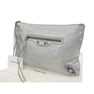BALENCIAGA Balenciaga clutch bag second leather silver 390174 20200123