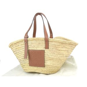 LOEWE Loewe Anagram Basket Bag Handbag Tote Raffia Leather Natural Brown 20200123