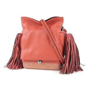 Loewe flamenco box purse tassel chain shoulder bag leather coral 20191114