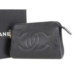CHANEL Chanel Leather Big Coco Mark Mini Pouch Accessory Case Multi Black 20191108