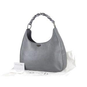 Christian Dior Colored Stone Handbag Leather Metallic Silver Vintage 20191031