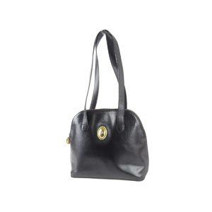 Christian dior christian logo gold hardware shoulder bag leather black 20191031