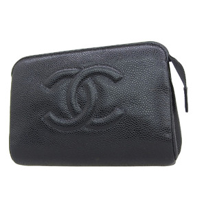 CHANEL Chanel Caviar Skin Deca Coco Mark Mini Pouch Accessory Case Multi Black 20191108