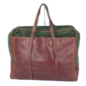 Loewe LOEWE anagram suede leather boston bag travel men ladies green brown