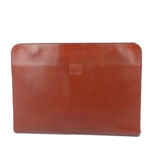 Loewe LOEWE Leather Anagram Clutch Bag Second Briefcase Women's Men's Brown