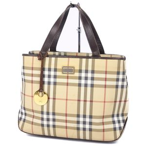Burberry London BURBERRY LONDON Ladies Check Handbag Leather Bag Beige
