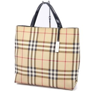 Burberry London BURBERRY LONDON Check Handbag Leather Bag Beige Ladies