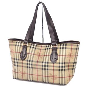BURBERRY Ladies Horse Ferry Check Handbag Leather Bag Beige