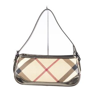 Burberry BURBERRY PROSUM Check Handbag Semi Shoulder Bag Ladies Beige Gold