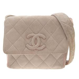Chanel Coco Mark Shoulder bag Suede Beige Pink