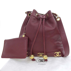 Chanel CHANEL Triple Coco Mark Shoulder Bag Drawstring Caviar Skin Red 3rd
