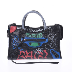 Balenciaga Graffiti Classic City 2WAY Bag Black Unisex Lambskin Handbag
