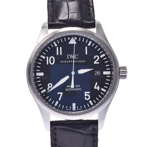 IWC SCHAFFHAUSEN Idabruce Schaffhausen Mark 16 IW325501 Mens SS Leather Watch Automatic Black Dial