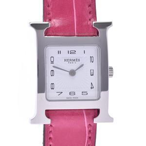 HERMES H watch HH1.210 D engraved Ladies SS Polosus quartz white dial