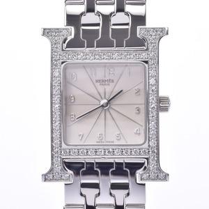 HERMES H Watch Diamond Bezel HH1.230 Ladies SS Quartz Ivory Dial