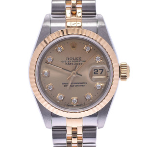 ROLEX Datejust 10P Diamond 69173G Ladies YG SS Watch Automatic champagne dial