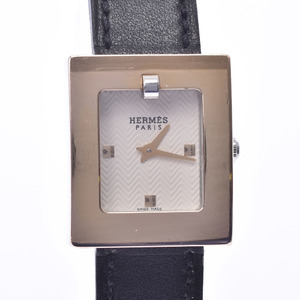 HERMES belt watch BE1.210 Ladies SS leather quartz white dial