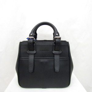 Burberry handbag leather logo embossed black tote bag square ladies