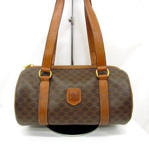 CELINE Celine Handbag Macadam Pattern Brown Mini Boston Bag Tube Type M95 Total PVC Leather Ladies