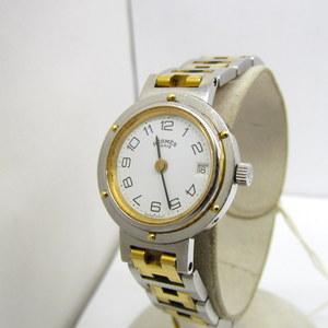 HERMES watch clipper silver gold combination date analog quartz round face H belt dial white logo woMens