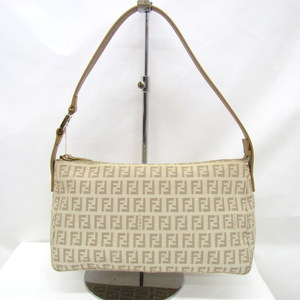 FENDI Fendi One Shoulder Bag 8BR444 Zucca Pattern Canvas Leather Beige Total Handbag Ladies