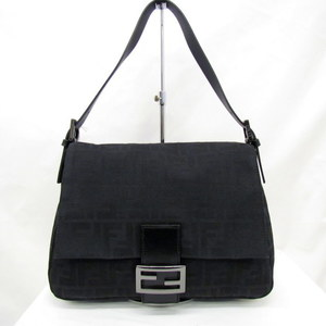 FENDI Fendi One Shoulder Bag Mamma Bucket Zucca Pattern 8BR001 Nylon Canvas Black Total Handbag Ladies