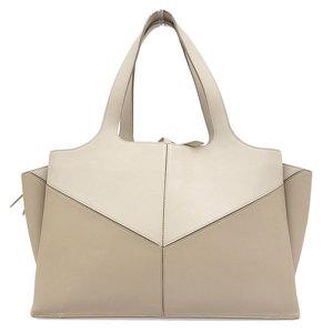 CELINE Celine Trifold Tote Bag Beige Leather