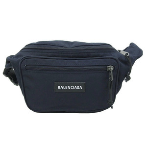 Balenciaga waist bag body dark blue leather