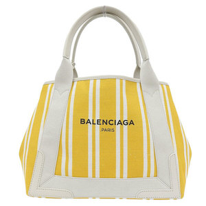 Balenciaga Cabus Stripe Tote Bag Natural Yellow Leather