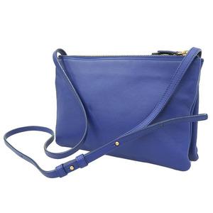 CELINE Celine Trio Shoulder Bag Blue Leather
