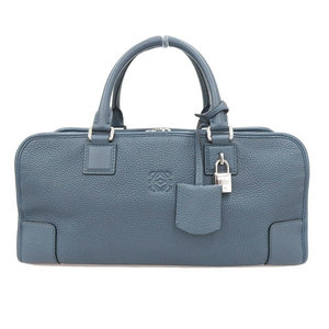 LOEWE Loewe Amazona Handbag Navy Blue Silver Leather