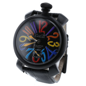 Gaga Milano Manuare 48mm Hand-wound Black Dial Watch 5012.3 Stainless Steel Leather Multicolor Ladies K90223138 PD3