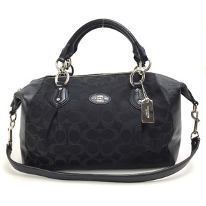 Coach handbag signature strap with charm F33804 black ladies COACH K90507313 PD1