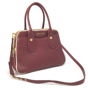 Miu Miu Miu Handbag 2WAY Shoulder Leather Red Ladies MIUMIU K90525670 PD2