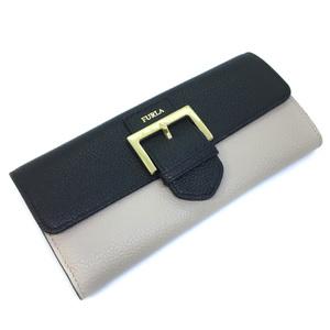 Furla long wallet bicolor 2019 spring and summer 987425 leather black beige ladies K90723704 PD3