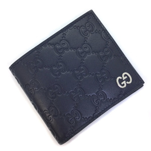 Gucci bi-fold wallet signature coin 473922 leather navy men GUCCI K90723713 PD3